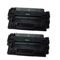 2 Pack HP Q7551A Remanufactured Black Toner Cartridge
